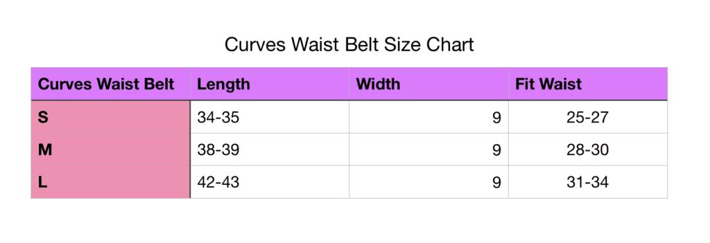 Workout belt size chart
